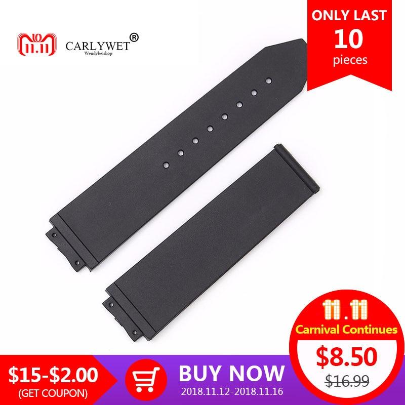 CARLYWET 24*18mm Black Waterproof Silicone Rubber Replacement Wrist Watch Band Strap Belt цена