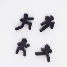 4 шт. милый ниндзя холодильник магнитный холодильник наклейка магнитный зажим для заметок черный человек кунг-фу дети доска объявлений забавные наклейки