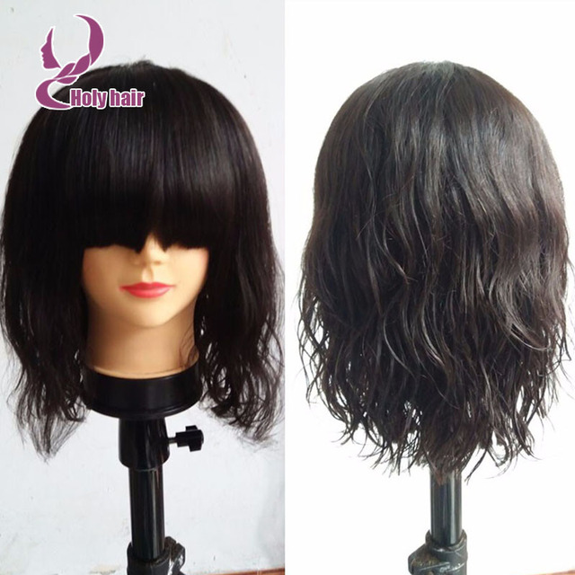 Bob Style Layered Human Hair Lace Front Wigs With Bangs Natural Wavy