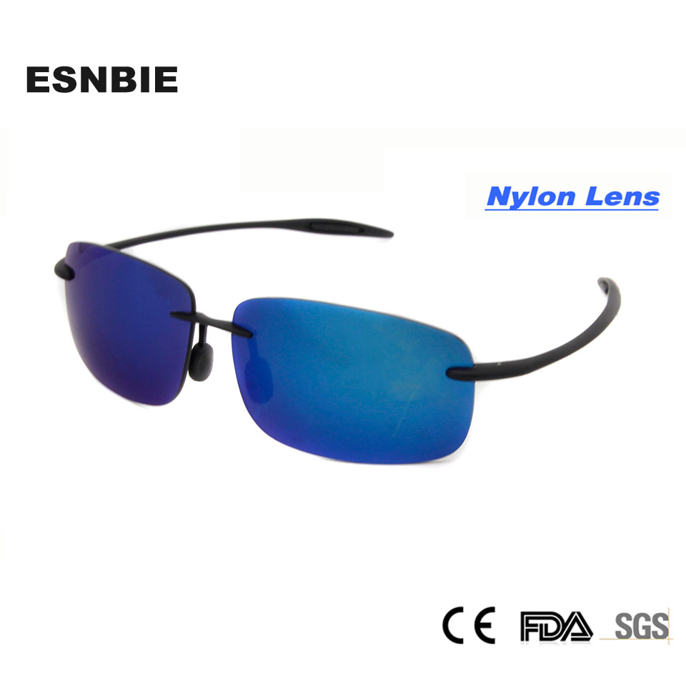 Nové chladné brýle Ženy UV400 Nový materiál Nylonové čočky Rimless brýle Módní muž Sluneční brýle Shade oculos de sol feminino