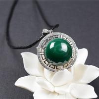 QIANXU Gerçek Malakit Kolye Kolye Şanslı Yeşil Yeşim Kolye Yeşim Takı Güzel Takı Ile 925 Gümüş