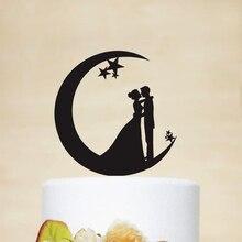 Свадебный Топпер для торта с Луной и звездами, акриловый деревянный Топпер для торта Серебряного и золотого цвета с силуэтом невесты и жени...