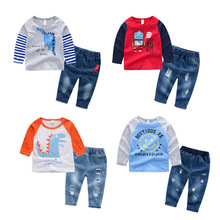 Toddler boy clothes Cartoon T-shirt+Denim Jeans Shorts Pants Sport Suits 2PCS Outfits Set boutique kids clothing 2 3 4 5 6 Years hot sale fall boutique outfits embroidered toddler teenage girls clothing set denim autumn 2t to size 10 13 years