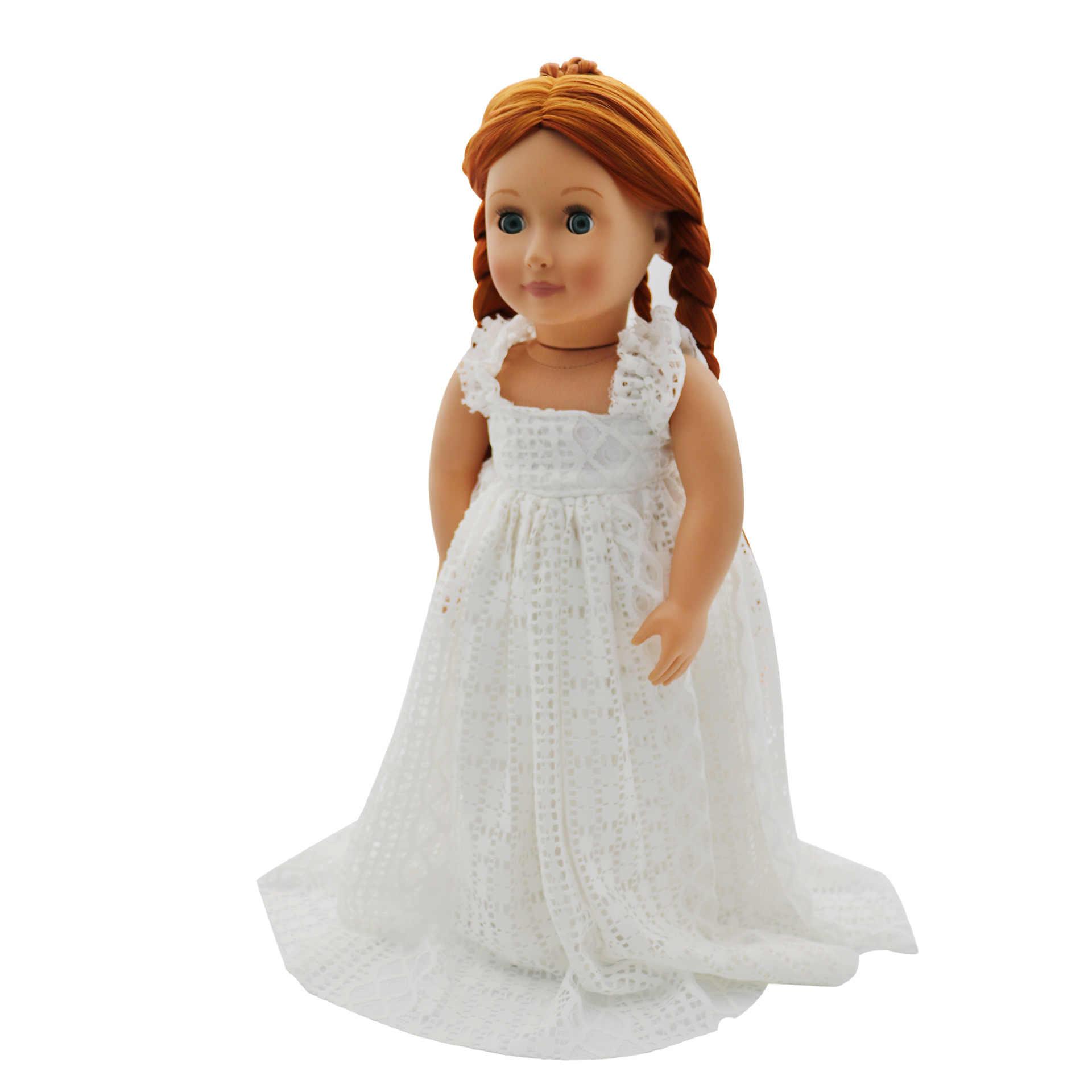 Vestir para menina roupa da boneca acessórios padrão high-end vestido de noiva de renda branca