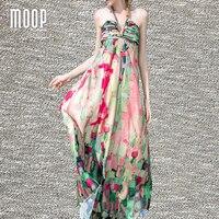 Vrouwen zomer bohemian leuke bloemen lange vakantie halter jurk ruches terug stropdas hals gedrapeerde jurk V-hals zonnejurk vestidos LT1413