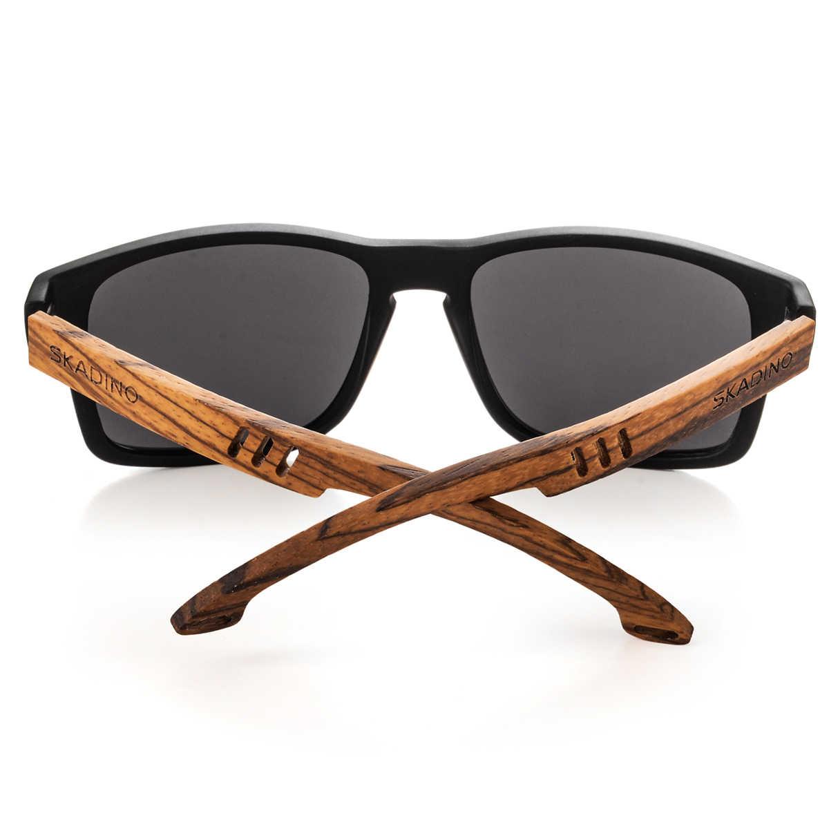 90daaa0d08 ... SKADINO Zebra Wood Men Sunglasses Polarized Wooden Sun Glasses for  Women Blue Green Lens Handmade Fashion ...