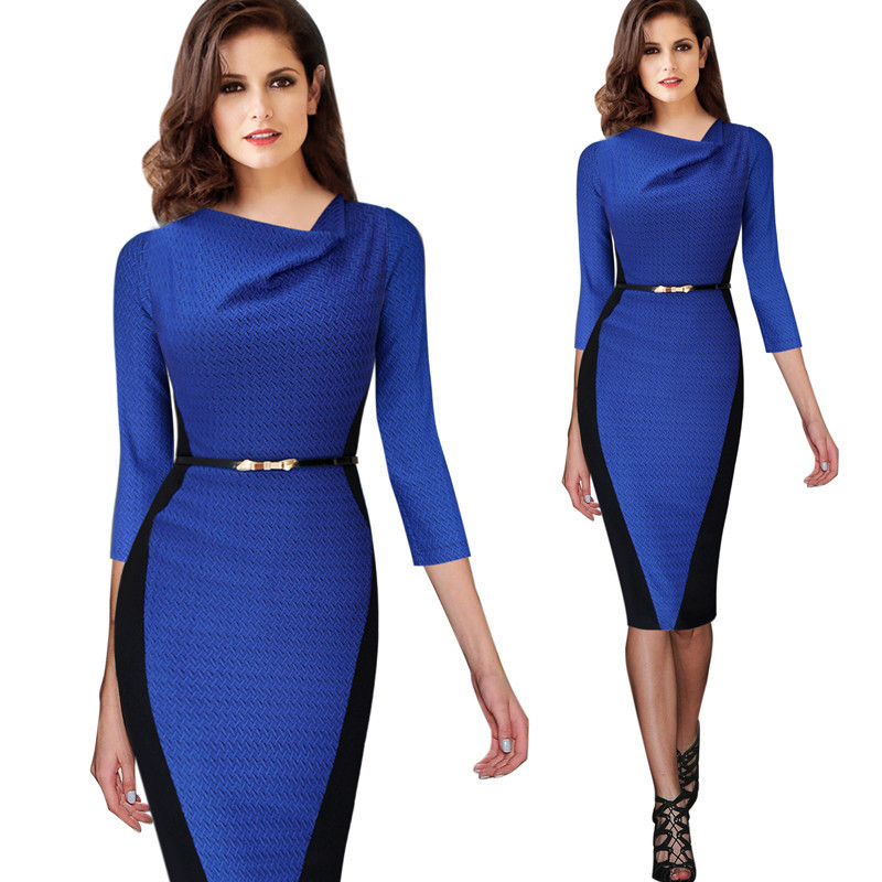 0aed1f978872 2016 Women Autumn Vintage Colorblock Casual Party Evening Shift Dress Plus  Size Straight O neck Office OL Dress Wear To Work-in Dresses from Women s  ...