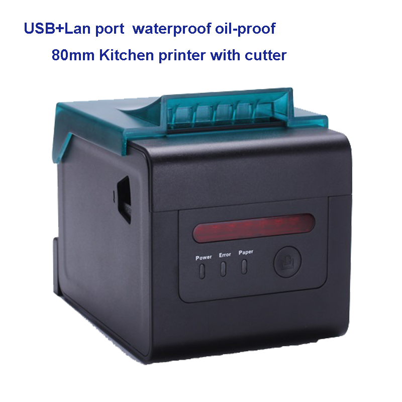 80mm esc/pos thermal printer waterproof oilprooof also support 58mm paper restaurant printer with auto cutter USB+Ethernet port