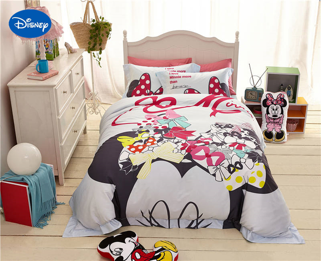 Disney Cartoon Minnie Mouse Printed Bedding Sets For Childrens S Bedroom Decor Silk Satin Bed Quilt