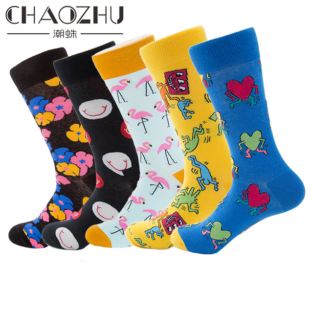 2018 Fashion Crew Socks Men Women Big Size Cotton Knitting Fancies Donut Panda Parrot Cartoon Funny Skateboard Socks Boys Cool
