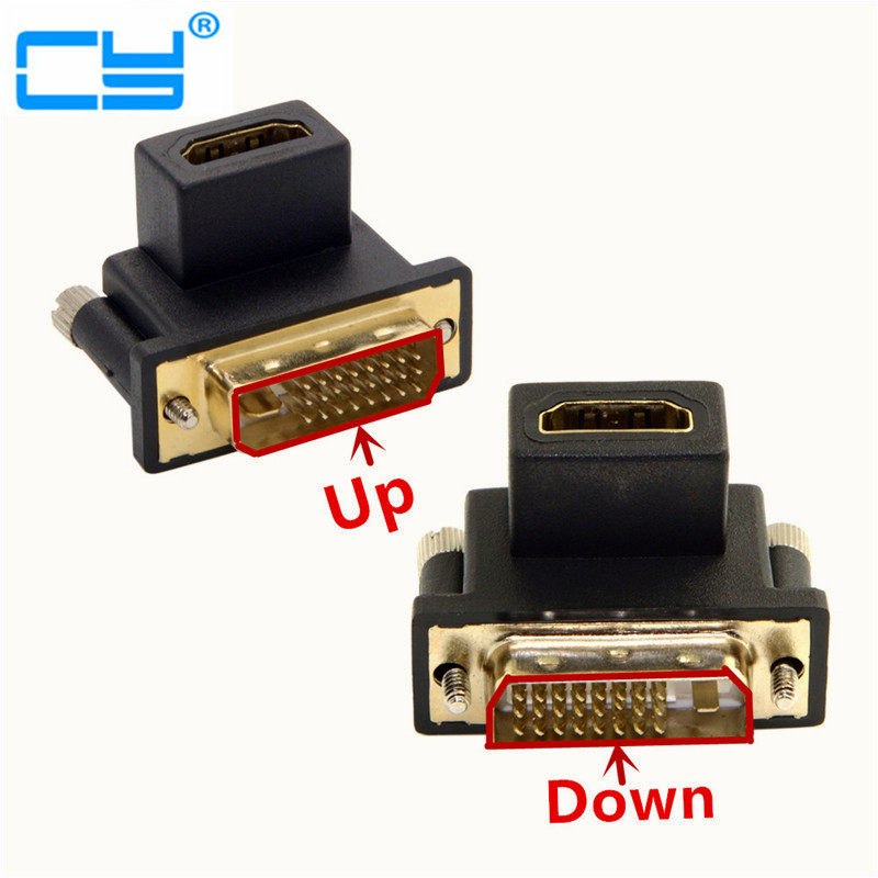 90 Degree Up & Down Angled DVI Male To HDMI Female Swivel Adapter For Computer & HDTV & Graphics Card