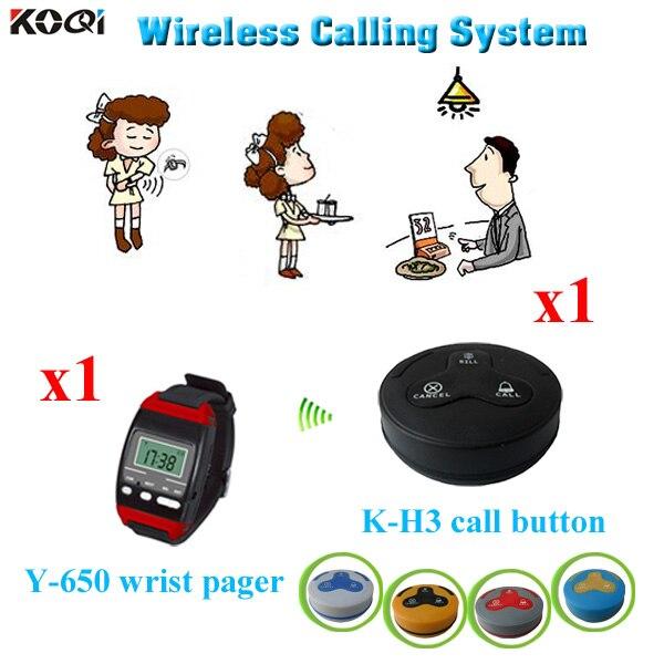 Système d'appel de Service sans fil pour Restaurant de fabrication d'or fournisseur de la chine 1 téléavertisseur de montre-bracelet + 1 bouton d'appel