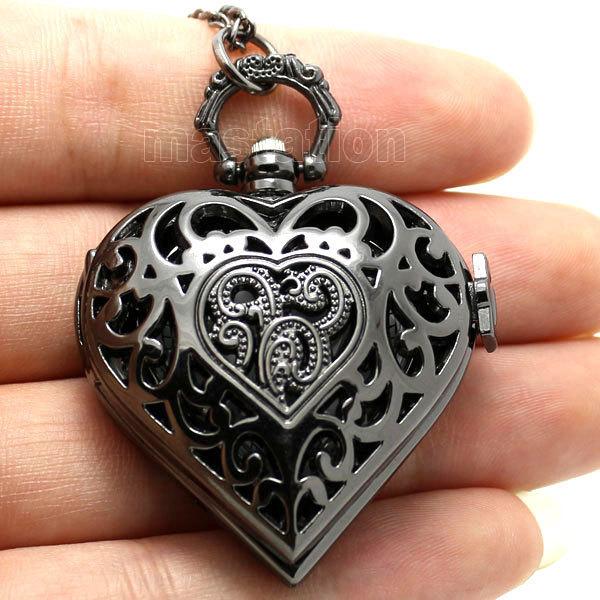 Black Pierced Heart Shape Pocket Watch Necklace Pendant Women Gift