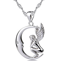 925 Sterling Silver Locket Women Moon And Angel Wings Pendant Necklace