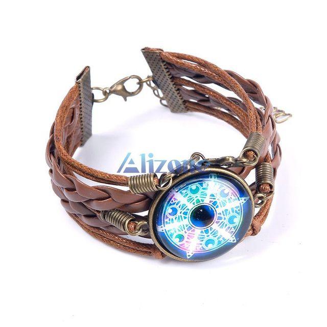Bracelets New Magic Circle Rhinestone Gem Leather Wristband Bracelet Bangle Cosplay Clcy 63155