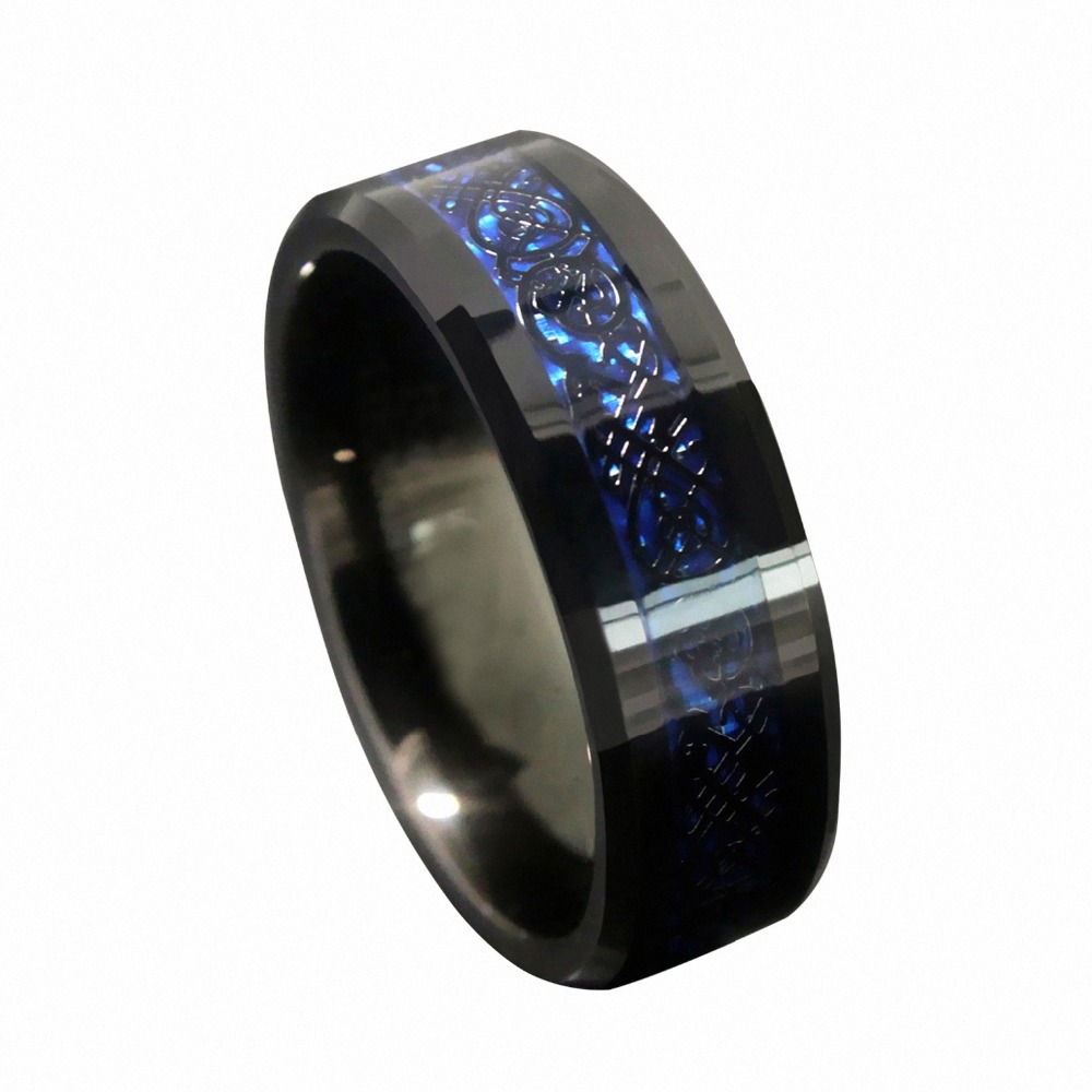 Queenwish-8mm-Blue-Black-Silvering-Celtic-Dragon-Tungsten-Carbide-Ring-Wedding-Band-Mens-Jewelry