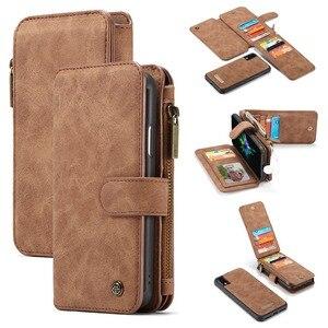 Image 1 - Pour iPhone 11 étui portefeuille 2 en 1 détachable magnétique housse en cuir pour iPhone 12 Pro Max 12 XR SE 2020 XS 7 7plus 8 6S