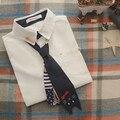 Botones de manga larga Turn down collar corbata camisa blanca blusa mori chica