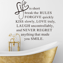 DIY  Life Is Short Words Removable Wall Sticker Wall Decal  Fashion Home Decoration