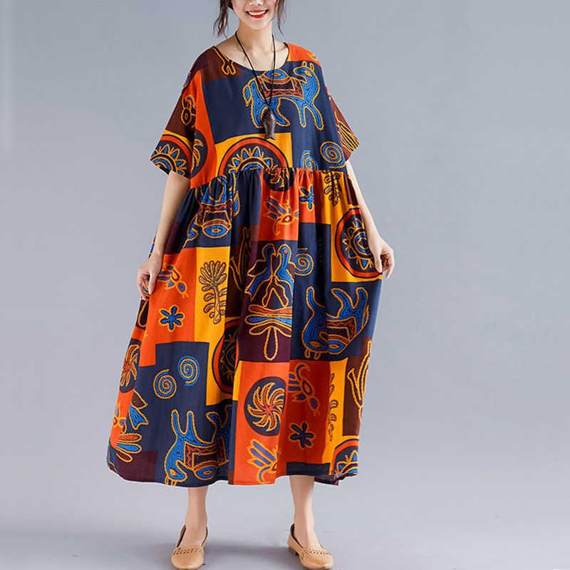 Oladivi 여성용 대형 의류 플러스 사이즈 캐주얼 코튼 린넨 프린트 맥시 롱 드레스 레이디 여름 보헤미안 드레스 튜닉 8xl