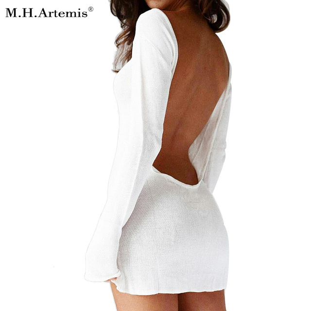 Mhartemis Autumn Sexy Backless Knitted Cotton Dresses Winter