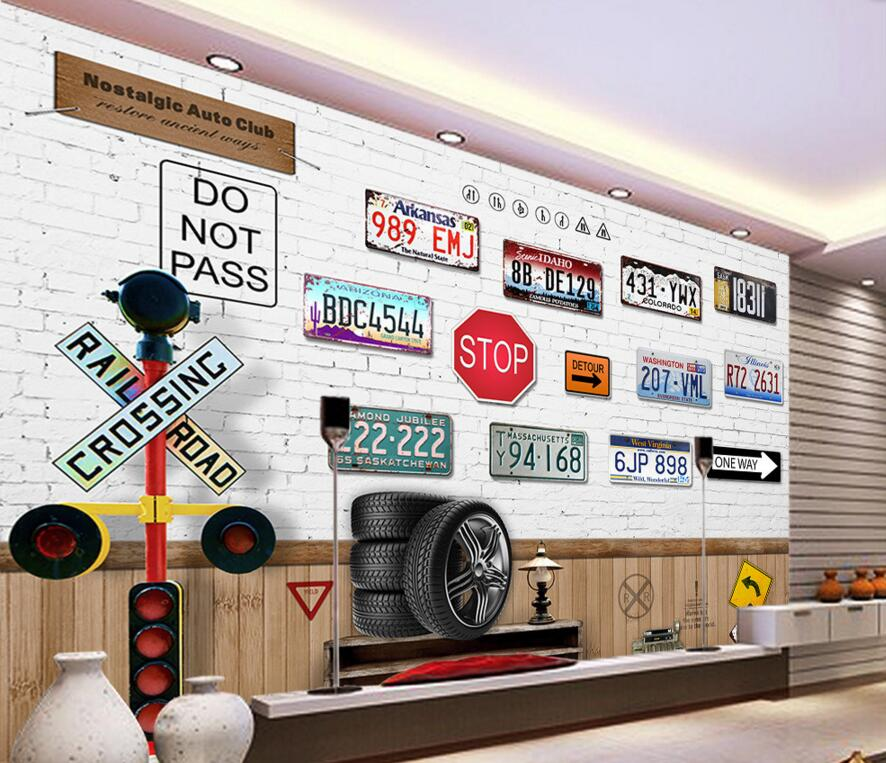 Custom retro wallpaper,Retro car <font><b>license</b></font> <font><b>plates</b></font>,3D cartoon murals for the cafe restaurant hotel background PVC wallpaper