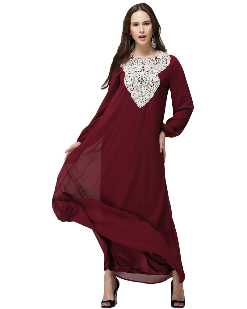 afece2189b6 Muslim Robe Plus Size Dress Women Chiffon Maxi Dress Round Neck Long Sleeves  Abaya Islamic Casual Kaftan Turkish Long Dress 7XL-in Dresses from Women s  ...