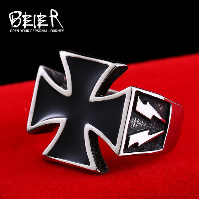BEIER 2018 Man Punk Cool For Stainless Steel 3D Cross Style Rings Men Fashion Je