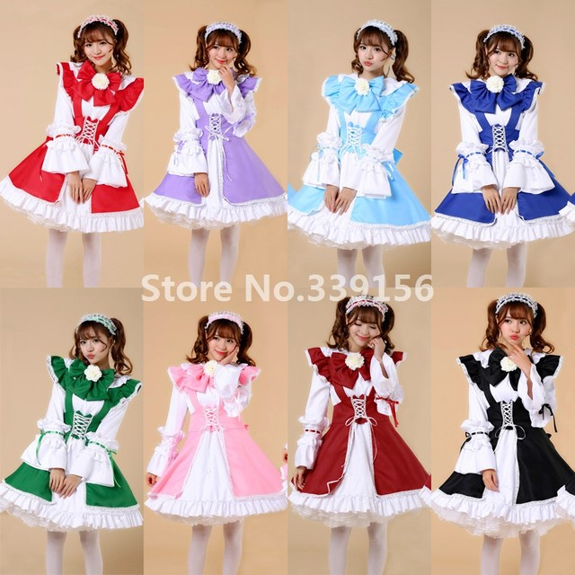 Plus Size Japanese Anime Cosplay Maid Costumes Outfit Girls Gothic  Restaurant Maid Dress Uniform Sweet Ball Gown Lolita Dress d2173135d5f1