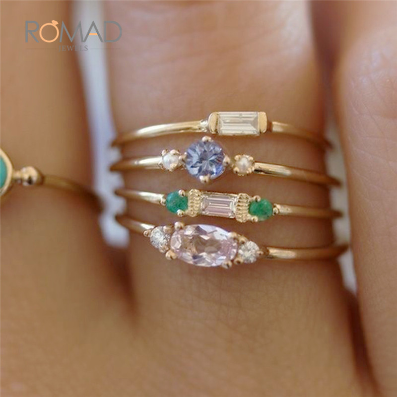 4PCS Bohemian Women Gold Color Shiny Crystal Zircon Wedding Ring Set For Female Simple Engagement Party Ring Set Jewelry Z4 in Engagement Rings from Jewelry Accessories