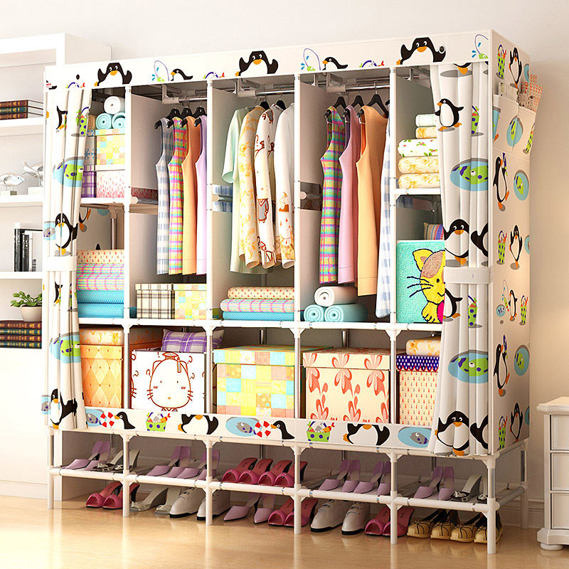XXL Wardrobe With shoe rack Non-woven Fabric frame reinforcement Standing Storage Organizer Detachable Clothing Closet furniture simple fashion moistureproof sealing thick oxford fabric cloth wardrobe rustproof steel pipe closet 133d