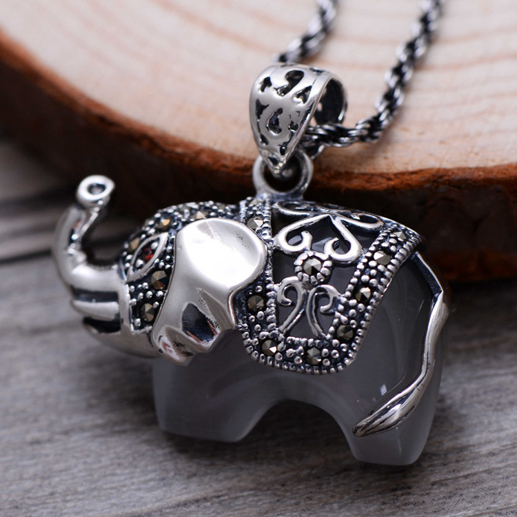 925 Sterling Silver Jewelry Vintage Silver Natural White Agate inlaid Marcasite elephant lady Pendant 925 sterling silver pendant thai silver natural green agate pendant locket female ruby pendant