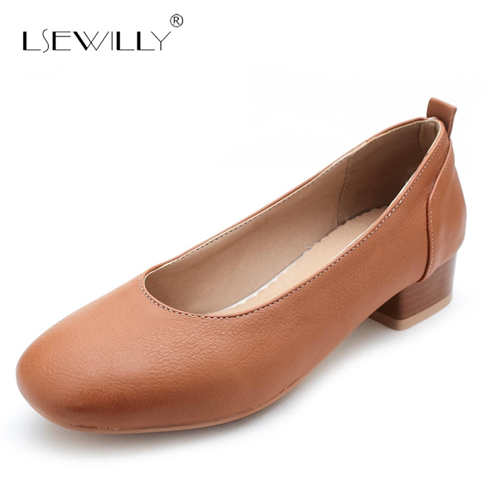 Lsewilly New Women's Pumps Thick Heels Square Toe Ladies Shoes Woman Stiletto Slimple Shoes For Office Lady Plus Size 30 50 S519