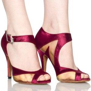 Image 1 - Yeni Marka Kızlar kadın Balo Tango Salsa Latin Dans Ayakkabıları Mor Saten Örgü Bayanlar