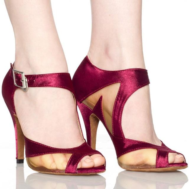 Yeni Marka Kızlar kadın Balo Tango Salsa Latin Dans Ayakkabıları Mor Saten Örgü Bayanlar