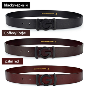 Image 3 - Brand Cowhide Genuine Leather Mens Belts Smooth Buckle Jeans Male Fashion Waistband Strap Leather Belt For Men Women
