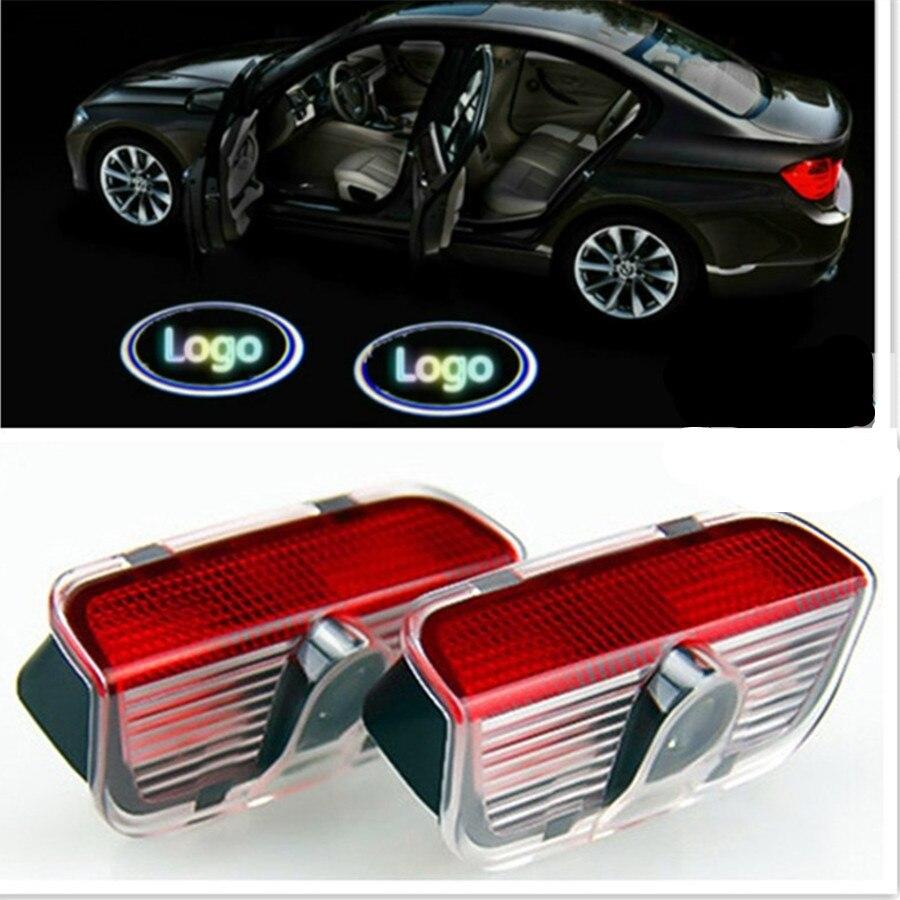 Haoyuehao 2PCS LED Door Warning Light Case For VW Superb Logo Projector Light LED Emblem Welcome Light Door Step Ground