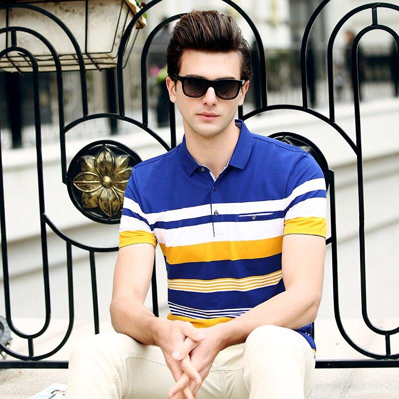 Male Embroidery stripe   Polo   Chemises Slim Fit Turn-down Collar   Polo   Chemises Men 2018 Nouveau Coton   Polo   Homme Fashion Vestidos