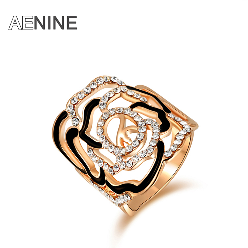 AENINE Brand Big Women Rings Micro Rhinestone Rose Flower Ring Rose Gold Color Fashion Jewelry for Women R150090240R