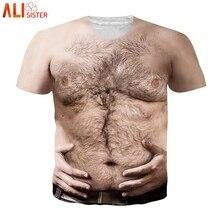 Alisister Hariy Chest 3d T Shirt Men Women Funny Print Short Sleeve T shirts EUR Size