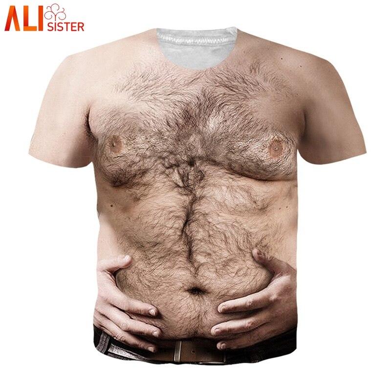 Alisister Hariy Peito 3d Homens Da Camisa de T Mulheres Impressão Engraçado Camisetas de Manga Curta Camisetas Hombre Camisetas Streetwear EUR Tamanho