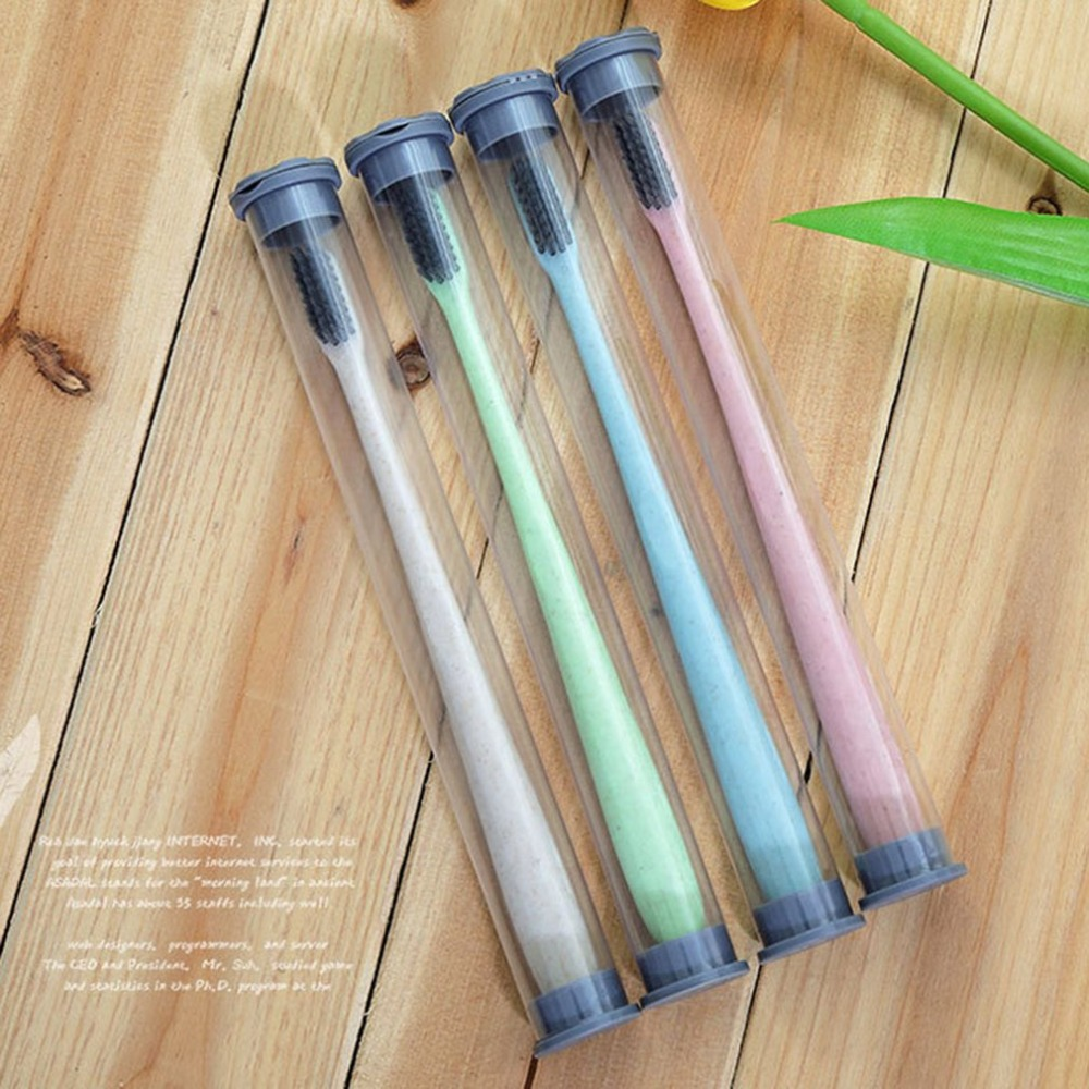 Wheat Straw Toothbrush Round tube packaging Soft Slim Bamboo Charcoal Bristle Brush Adult Kids Teeth Brush K-888-XP image
