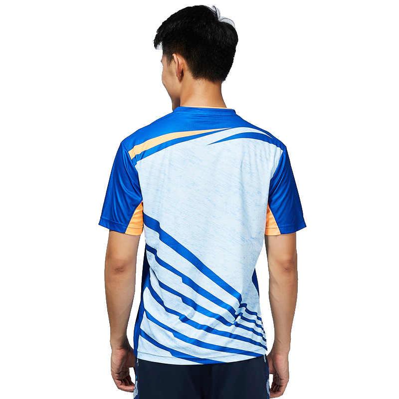 Kawasaki Badminton Shirt  Men T-shirt V Neck Short Sleeves Tennis T Shirt For Male Team Sports Sportswear ST-T1013