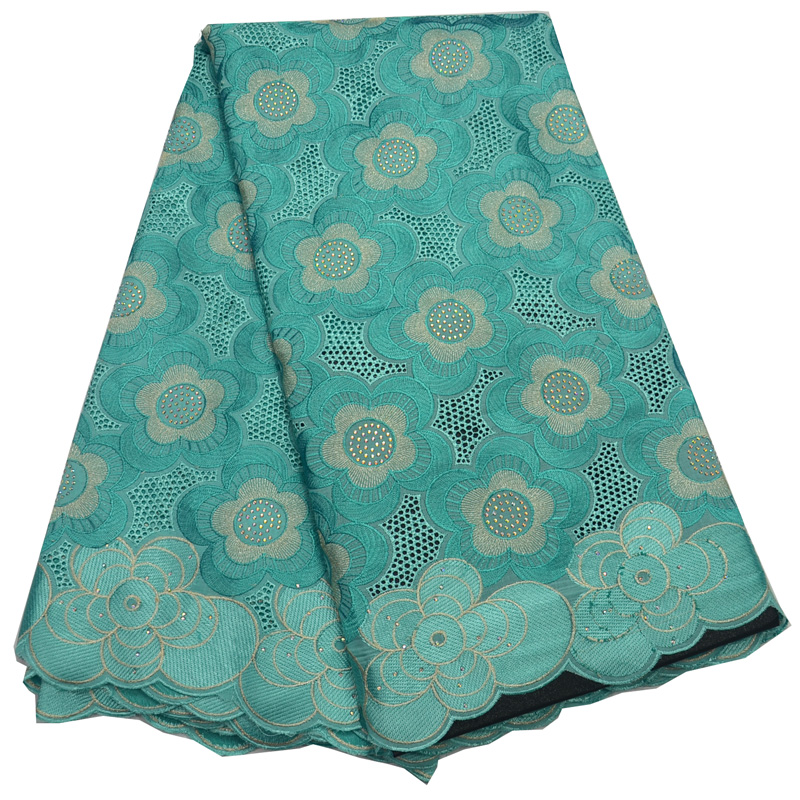 Free shipping 5yards pc High quality mint African dry cotton lace fabric with embroidery and stones