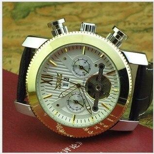 ФОТО JA003 FreeShipping Big Size 50MM Brand Mechanical Self Wind Watch European Style Men Leather Strap Wristwatch Tourbillon Relojes
