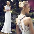 Halter A-line Chiffon Wedding Dresses 2015 Sleeveless Halter Backless Chiffon And Applique Sweep Train Bridal Gowns