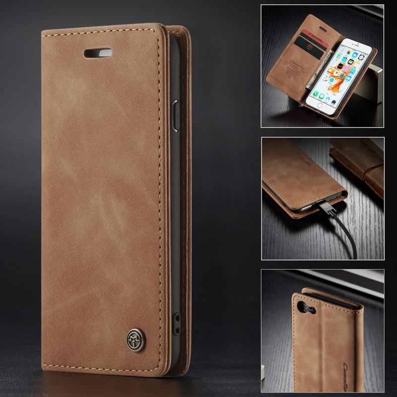 Cover Case For Iphone 5 5s SE 6 7 8 Plus XR XS Max Case Luxury Magnet Flip Matte Leather Bag For Apple Iphone 5 S E Wallet Cover