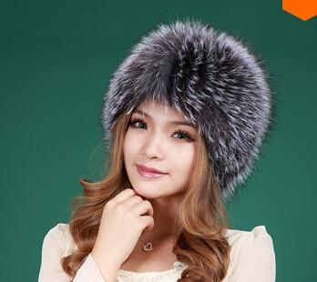 New Real Fur Hat Knitted Fox Fur Hat Women Winter Warm Female Silver Fox White Fox Furs Cap Good Gift Retail /Wholesale