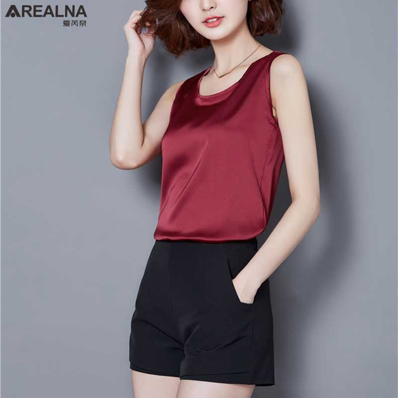 79aab34501af2f 2018 Women Summer Clothes Silk Sleeveless Sexy Top Women Solid Casual Shirts  Tank Top White Black