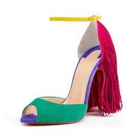 2016 Fashion Women S 12cm High Heels Tassel Peep Toe Casual Shoes High Quality Mixed Colors